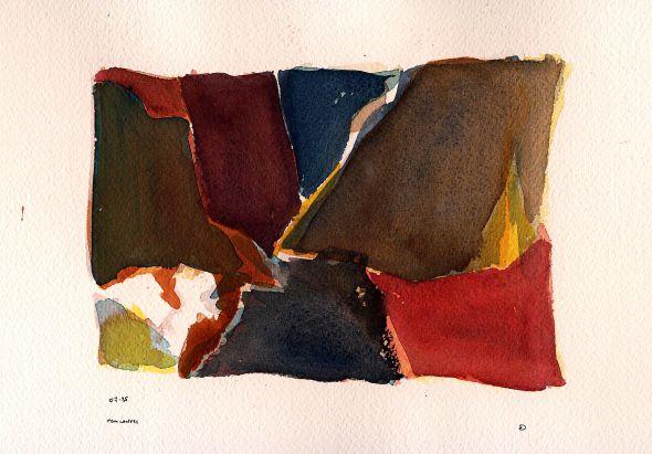 rencontres   -  aquarelle non figurative  - - création perso