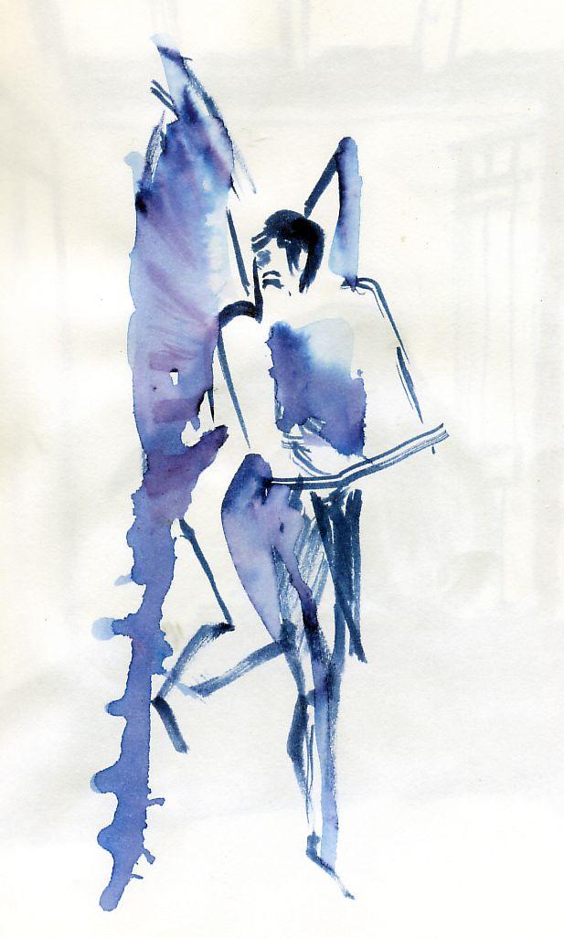 homme ailé, d'après un dessin d'Odilon Redon, vu à la grande expo Redon été 2011 Montpellier, Musée abre.. technique utilisée encre