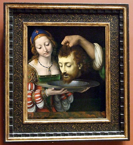 peinture; A Solario: Salomé avec la tête de St jean Baptiste : Metropolitan Mus N Y C