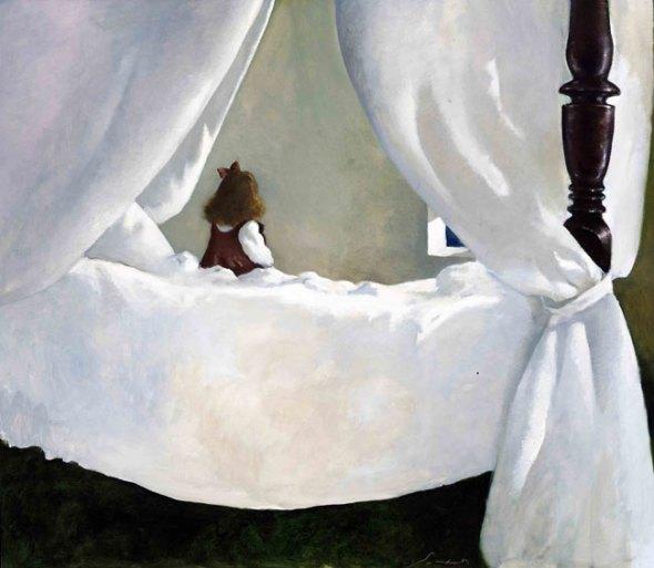 peinture:  Julio Larraz  -  rêve de jour  ( Day Dream)