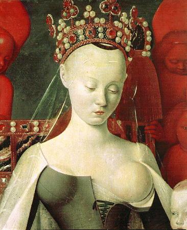 peinture: Jean Fouquet; vierge couronnée et enfant ( détail )