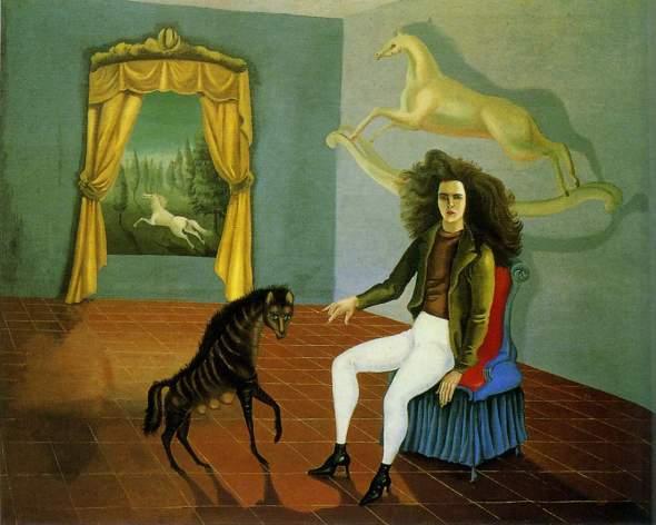 peinture;  Leonora Carrington:  auto-portrait  avec cheval blanc