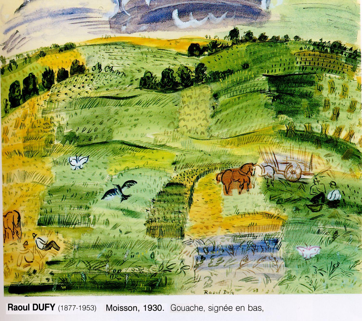 peinture  Raoul Dufy: les moissons   1930
