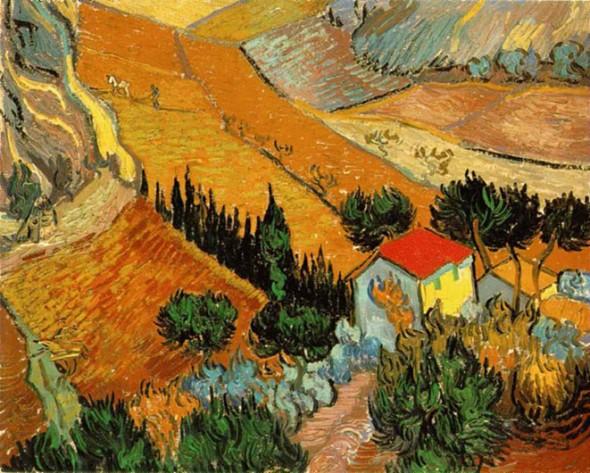 peinture: V Van Gogh: paysage  avec maison