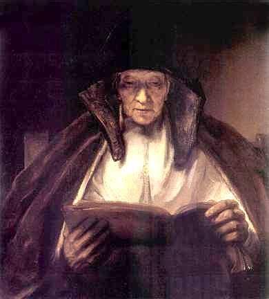 peinture: Rembrandt:  mère de l'artiste, lisant