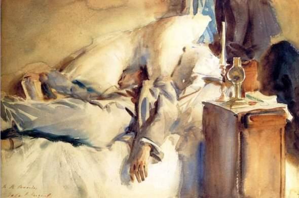 peinture: John  Singer Sargent; Peter Harrison  endormi