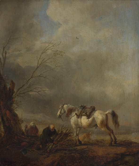 peinture Philps Wouwermans, cheval blanc, et vieil homme  avec fagots  XVIIè siècle