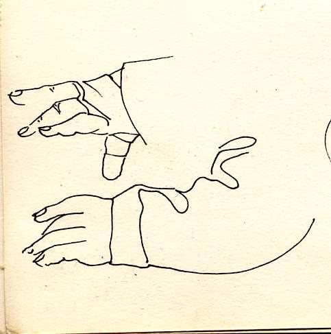 dessin perso, mains de Ko  1989