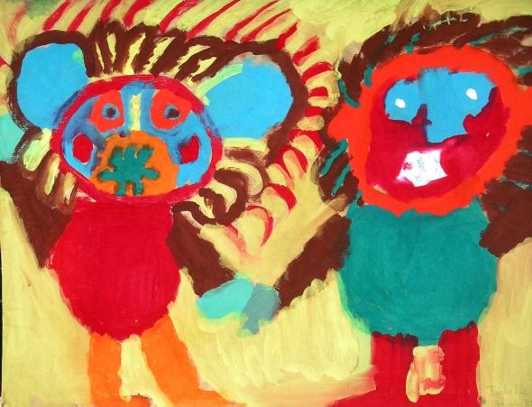 peinture: enfant de maternelle, année  1975, Lyon