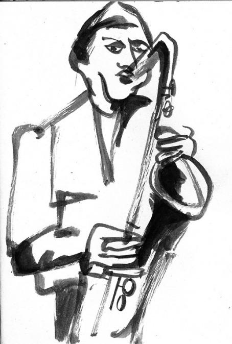 dessin perso: musicien en club de jazz