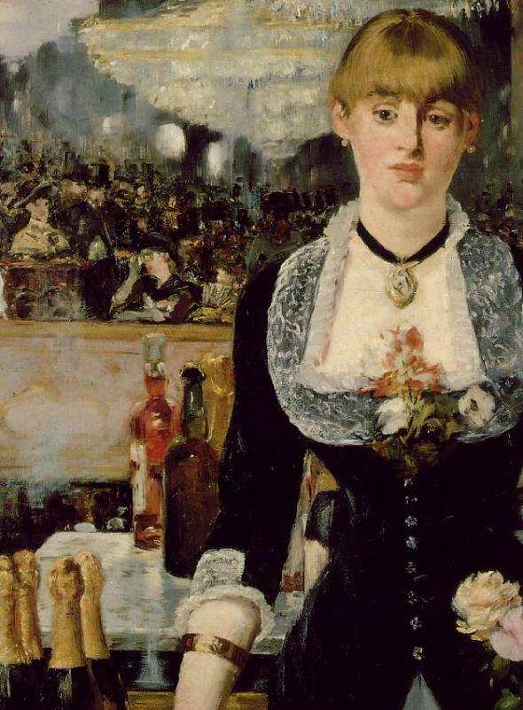 peinture  Ed Manet:  détail  du  Bar des Folies- Bergère