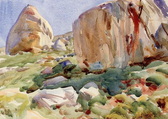 peinture  John Singer Sargent - les gros rochers  du Simplon