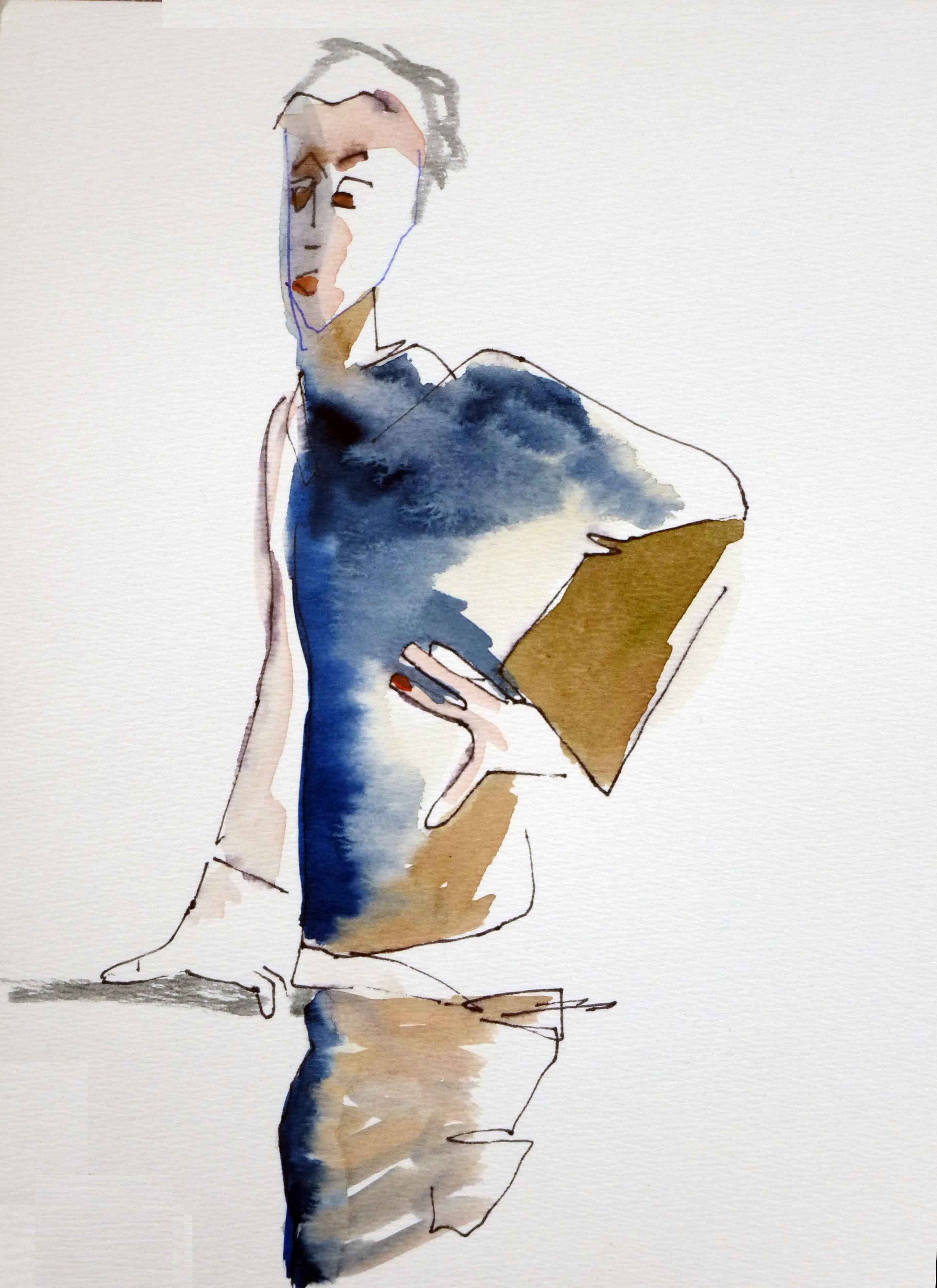 aquarelle perso,  d'après Egon Schiele, portr  d'Erich Lederer,  Bâle  musée  d'Art