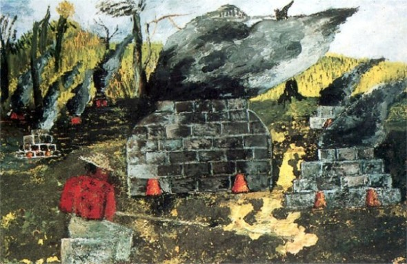 peinture: Frida Kahlo  : The Brick Ovens  1954