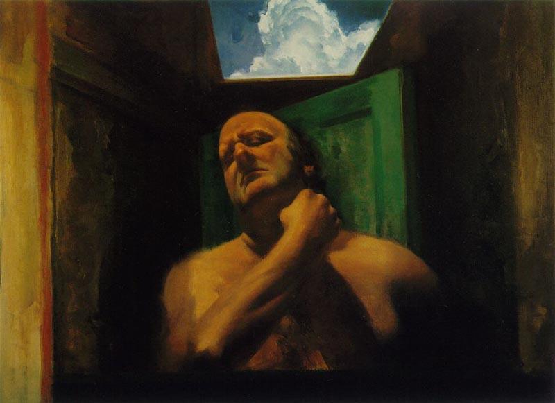 peinture  Sidney Goodman autoPortrait  au bras replié  1985