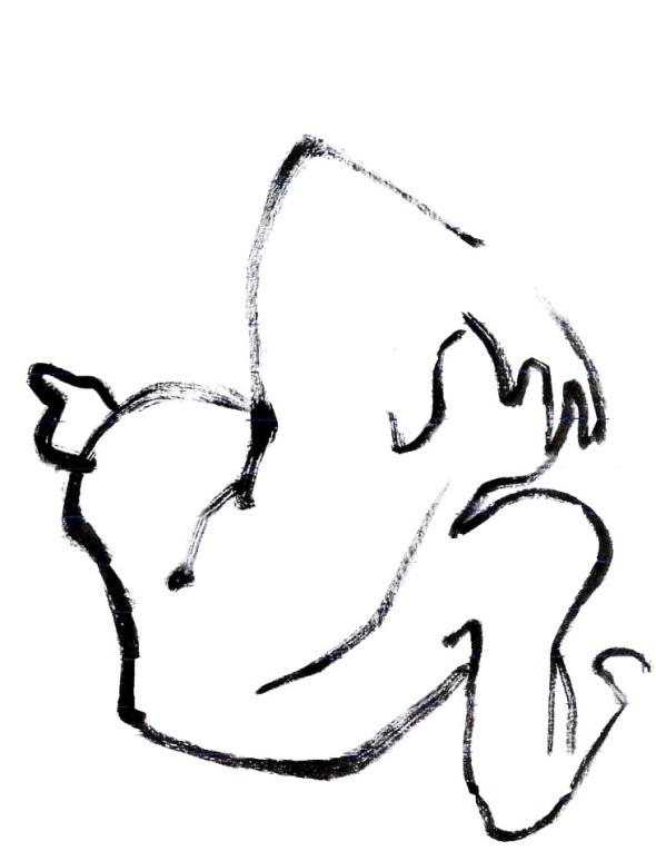 dessin calligraphique  à partir  d'une  sculpture  de Matisse,  exposition Matisse  et Rodin, musée  Rodin,