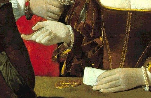 peinture: Georges  de La Tour    -  le tricheur à l'as  de carreau  -  détail