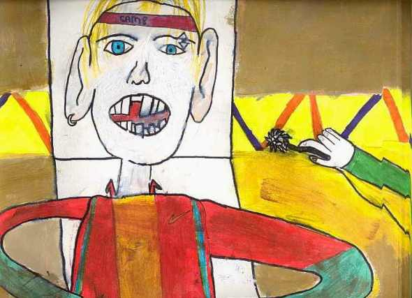 """peinture  : travail de collégien ( 5è)  thème  """"chez le dentiste"""""""
