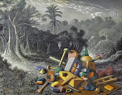 Peinture:  Alberto-Savinio-  Oggetti-nella-foresta