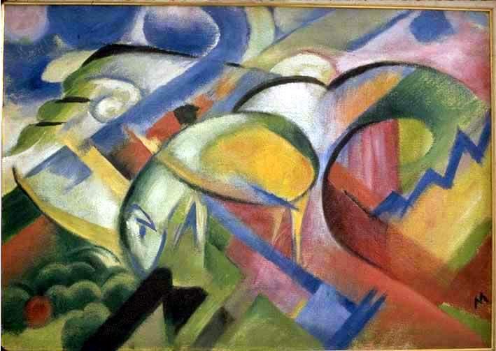 peinture:     Franz Marc  -  renards  1913-14