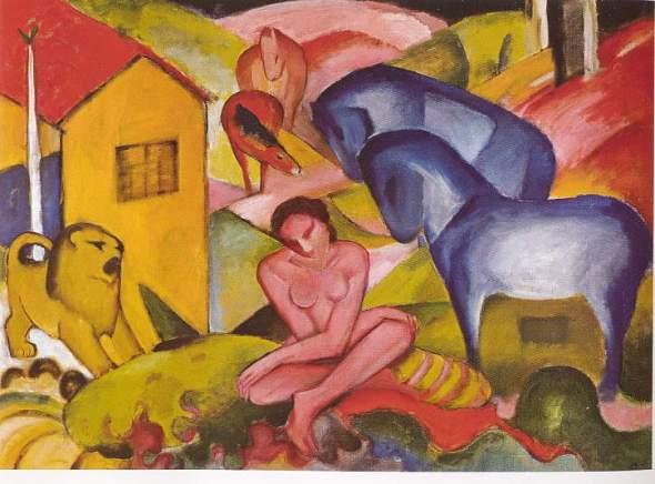 peinture: Franz Marc:  le  rêve  1912