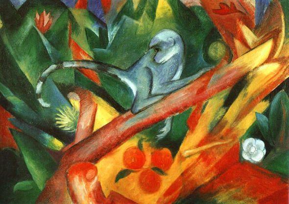 peinture: Franz Marc  -  singe  1912