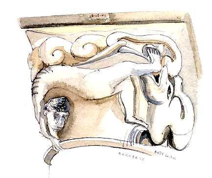 aquarelle perso :Chapiteau roman de l'église  d'Anzy-le-Duc