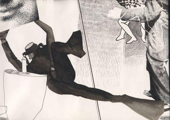 dessin:         extrait de dessin personnel  1986 - encre de chine, & lavis