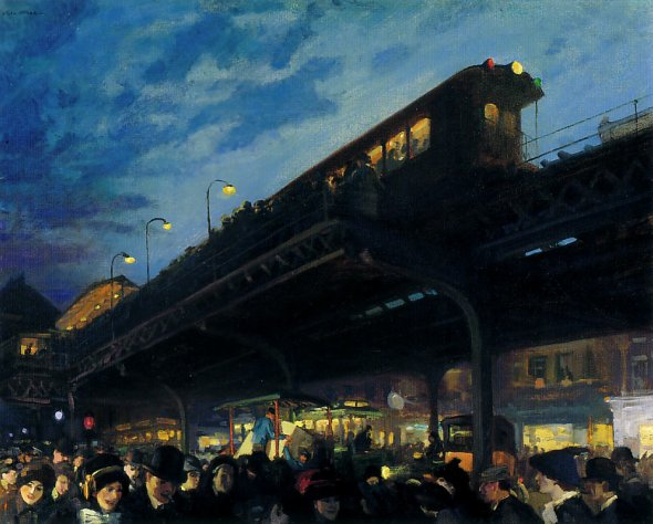 peinture  John Sloan   Six O'clock