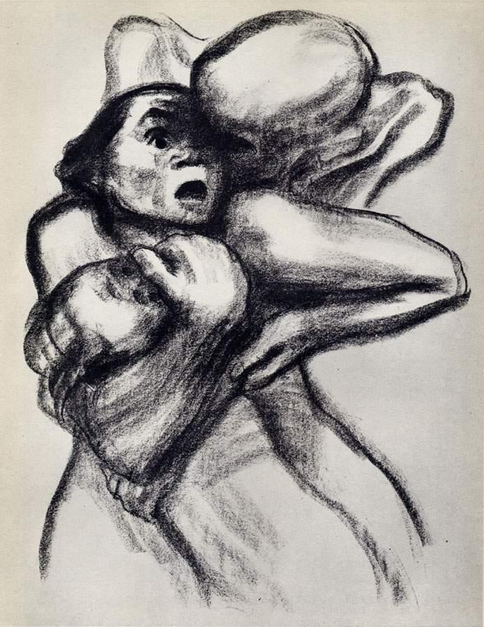 dessin: K Kollwitz - la mort ceignant la femme  1934
