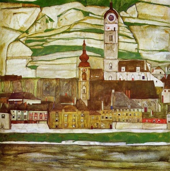 peinture: Egon Schiele:  terrasses du Danube  avec vignobles