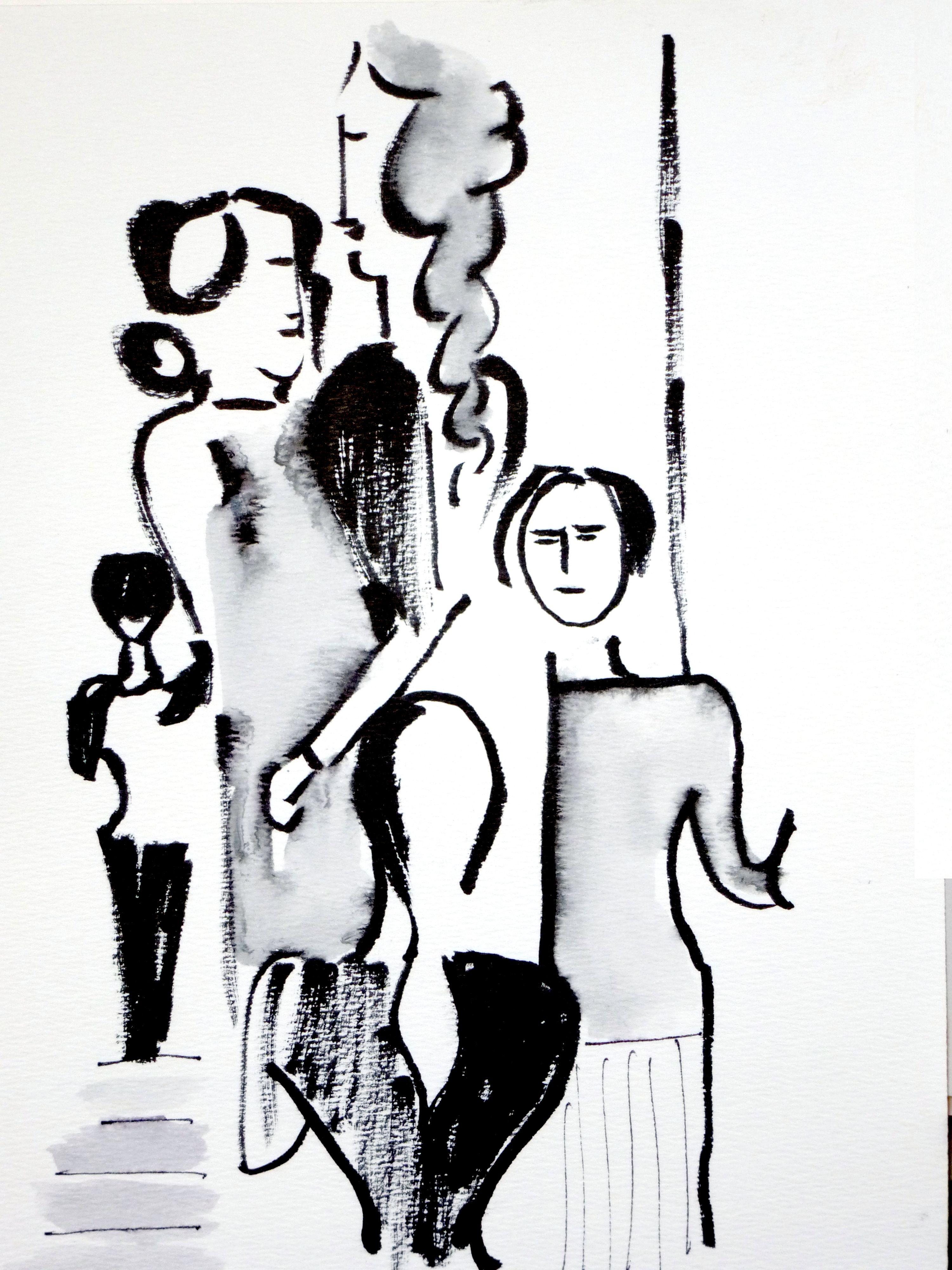 dessin perso  d'après peinture  d'Oscar Schlemmer - musée des Beaux-Arts de Bâle