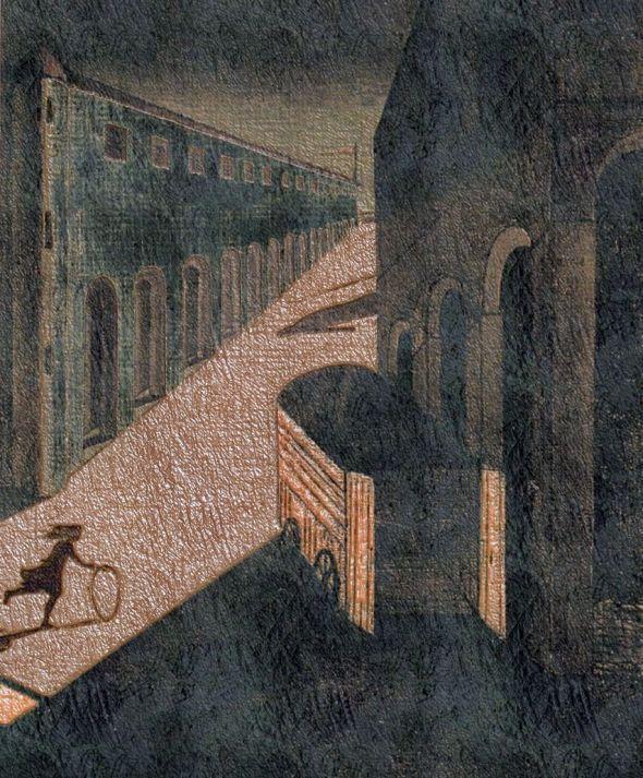 incitation d'image  peinture  de G de Chirico, transformée par mes soins