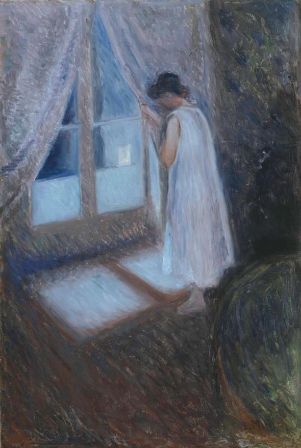 peinture:Edw  Munch  fille  à la fenêtre 1893