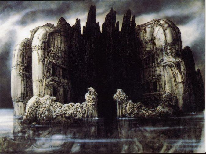 Illustration: Giger  (  se référant à l'île des morts  d'Arnold Böcklin )