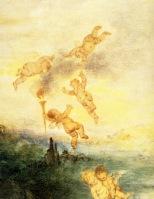 1717   Watteau  Le Pelerinage a l'ile de Cythere, DetailCherubiins
