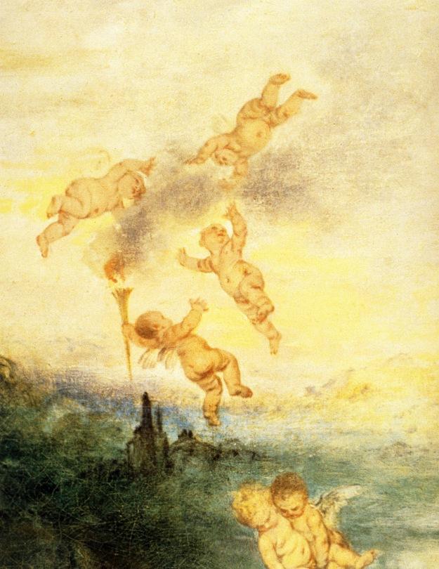 1717   Watteau  Le Pelerinage a l'ile de Cythere, Detail Cherubiins