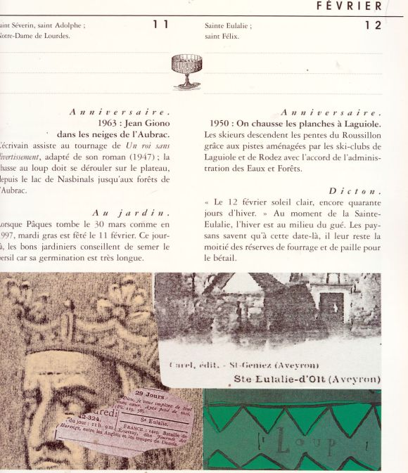 "page d'almanach ""revival""  editions du Rouergue"