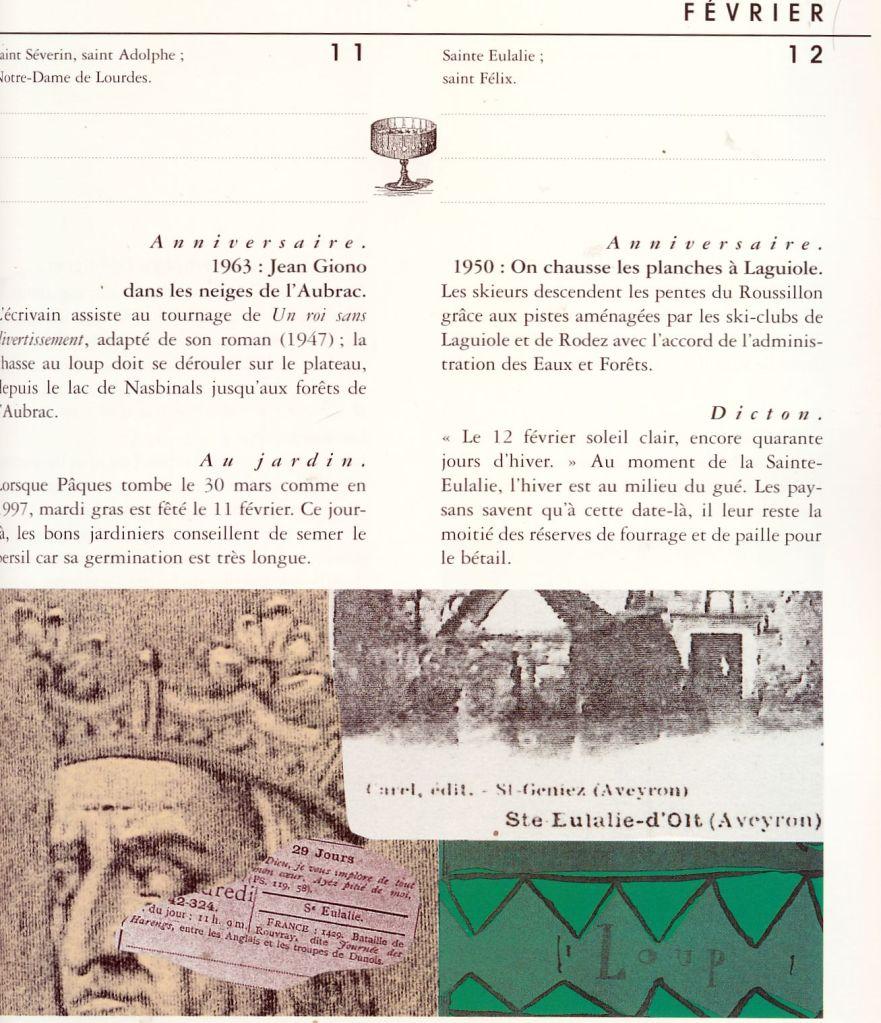 """page d'almanach """"revival""""  editions du Rouergue"""