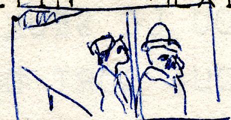 mini-croquis  d'après une photo d'Alvares-Bravo  -  Arles 1979