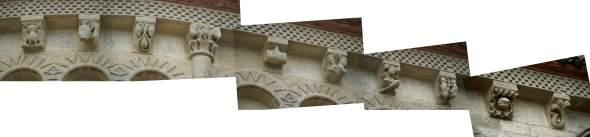 montage  et photos persos...  panoramique  des modillons de l'église de Talmont --  .......   cliquer  sur l'image pour  l'agrandir...