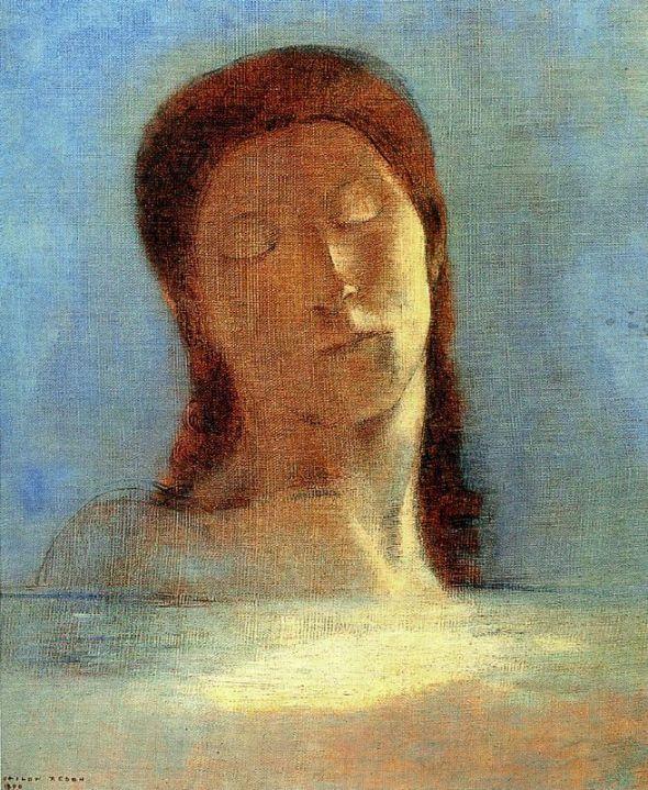 peinture : Les yeux clos, Odilon Redon, 1890