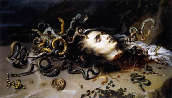 peinture  - Peter Paul Rubens (1577–1640) - The Head of Medusa, circa 1618, Oil on Canvas Moravská galerie v Brně Brno}}