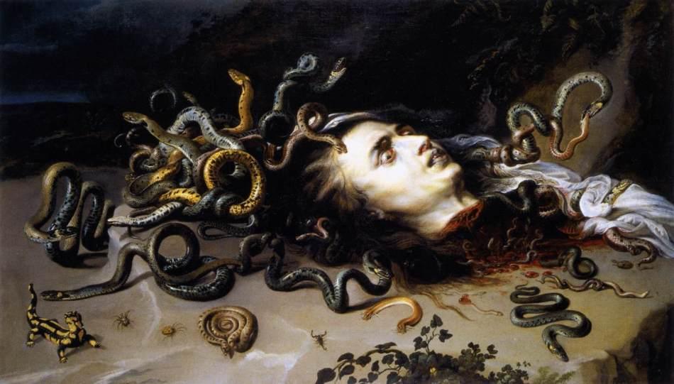 peinture  - Peter Paul Rubens (1577–1640) - The Head of Medusa, circa 1618, Oil on Canvas Moravská galerie v Brně Brno}}