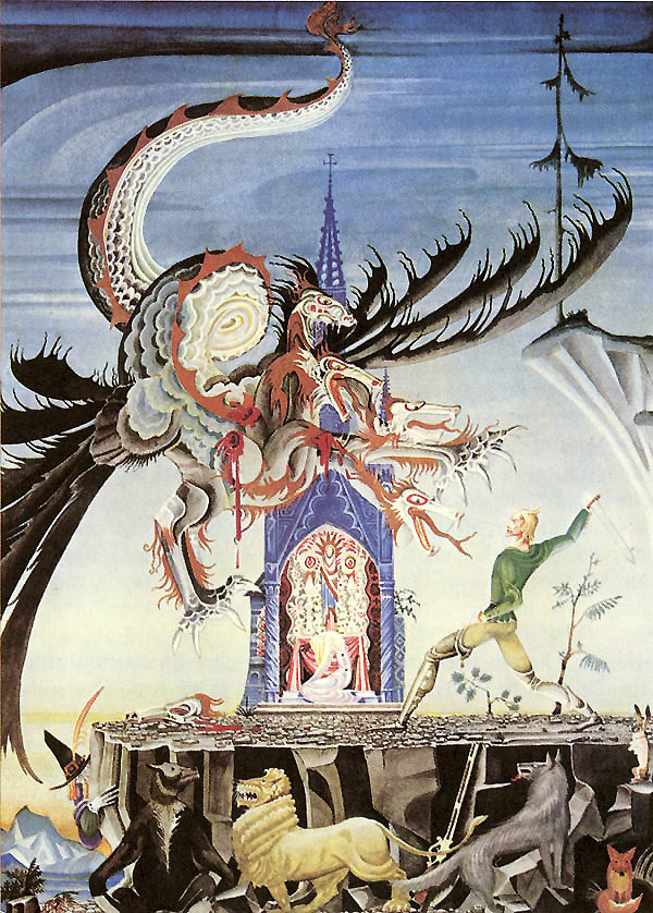 The Two Brothers - Kay Nielsen, from Grimm's Fairy Tales: The seven-headed dragon came and breathed fire, setting all the grass ablaze...