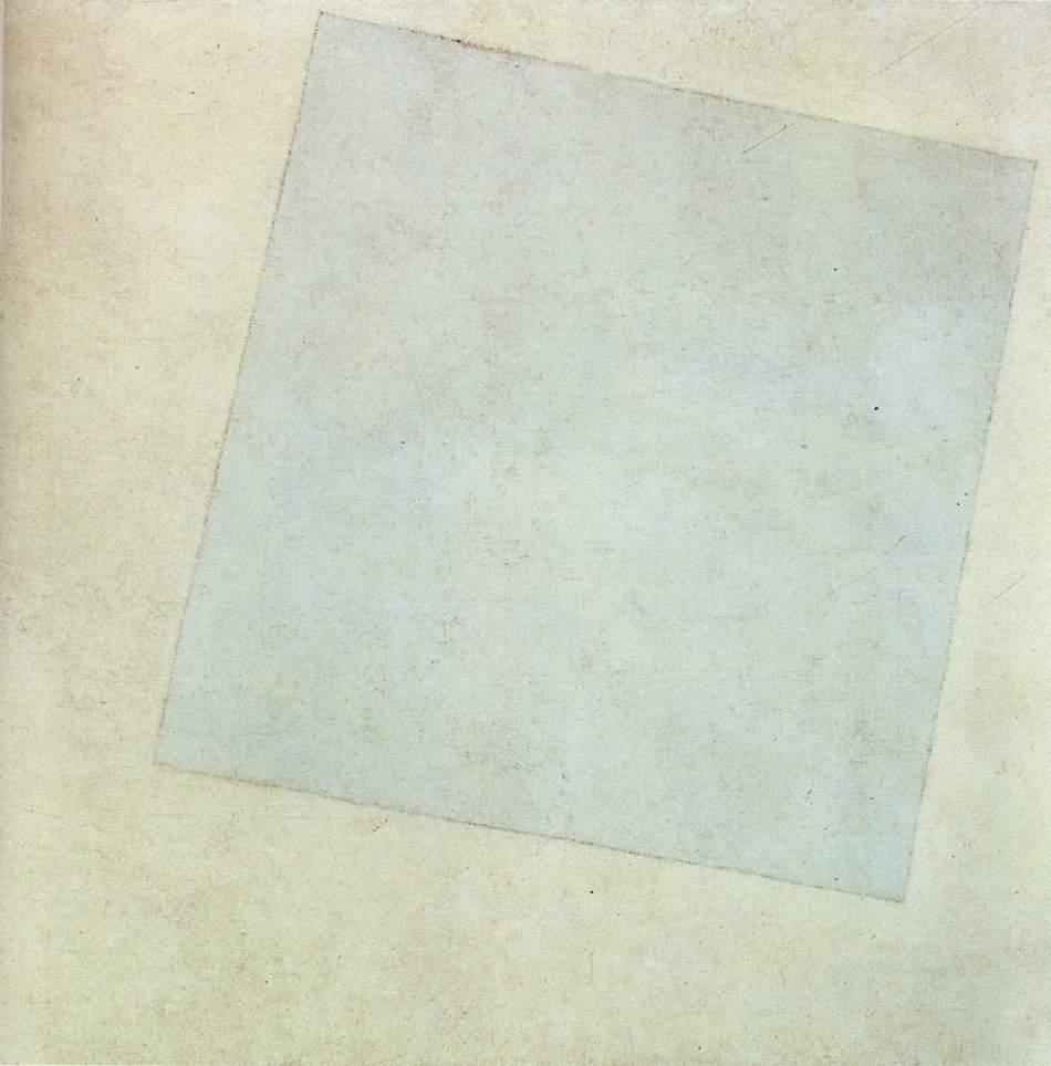 peinture: Malevitch   : composition suprématiste ( carré blanc  sur fond blanc )  1918