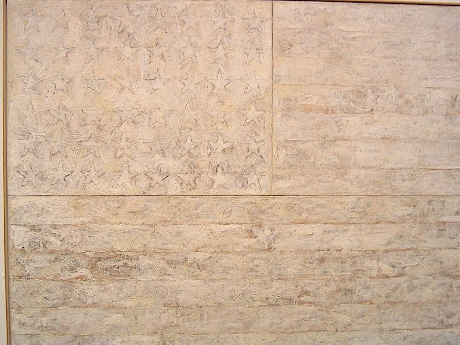 Peinture à l'encaustique: Jasper Johns - drapeau blanc