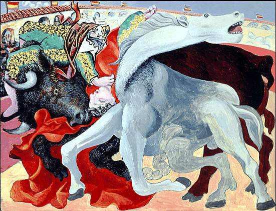 peinture  P Picasso  : mort  du torero
