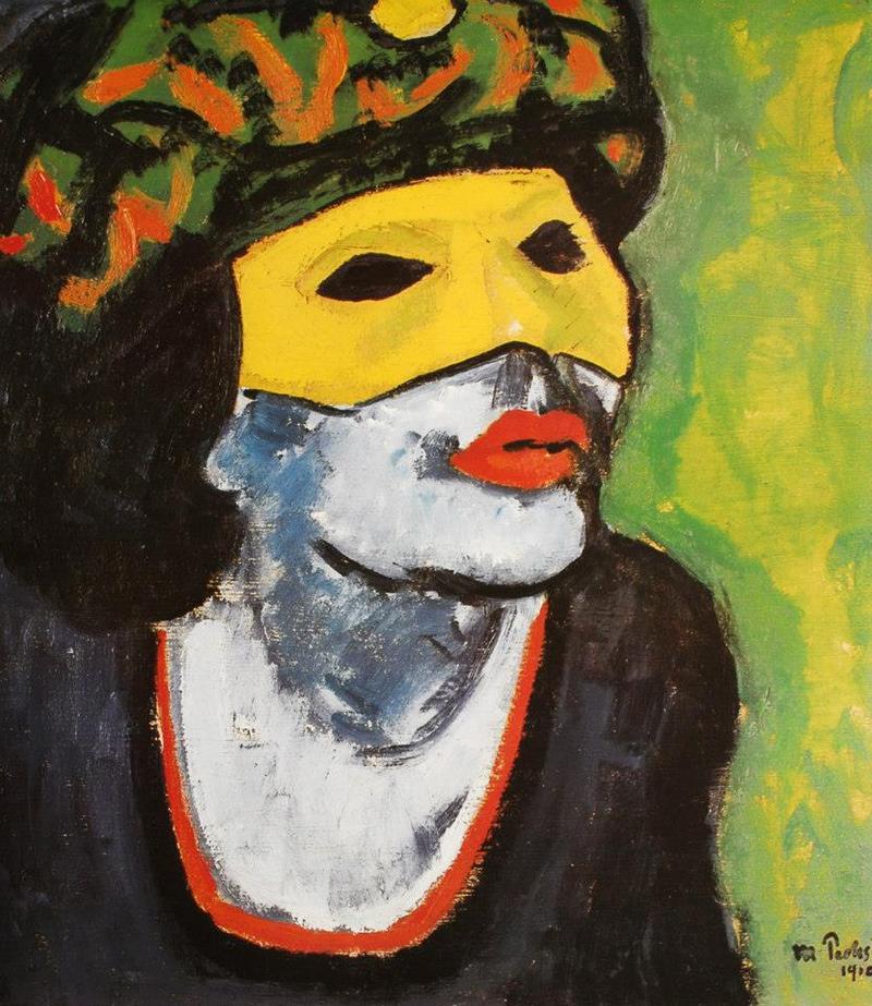peinture: Max Pechstein  -  (tête de femme masquée  )