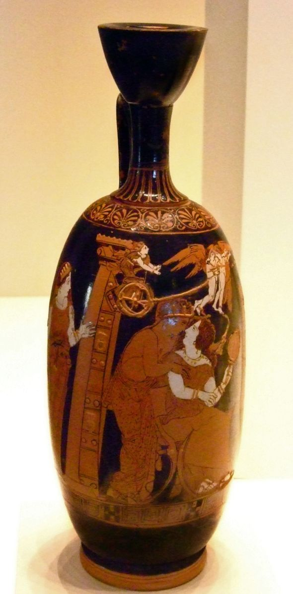 Red-figured lekythos  depicting Paris and Helen attributed to the Painter of the Frankfort acorn  Gr 481973724.jpg